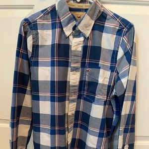Hollister blue and pink Button down